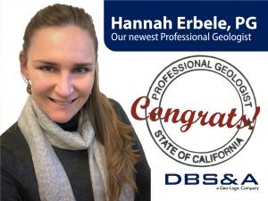 Hannah Erbele Passes California Professional Geologist Exam
